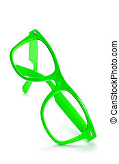 bright green eyeglasses - bright green plastic rimmed...