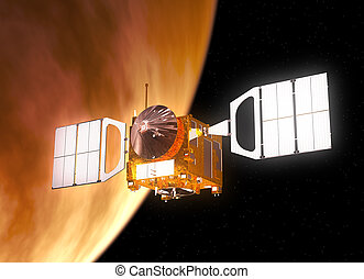 Interplanetary Space Station Orbiting Planet Venus 3D Scene...