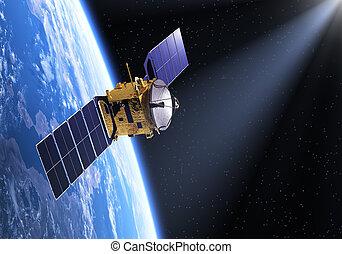 satélite, en, el, rayo, de, luz,