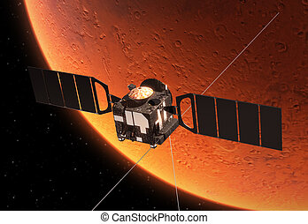 Interplanetary Space Station Orbiting Planet Mars 3D Scene