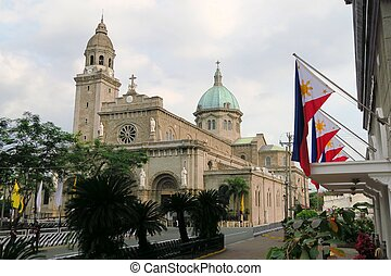 Manila Cathedral in Intramuros, Philippines - Manila...