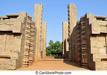 Ancient door gateway in Mamallapuram, India - Remaining...