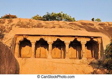 Cave complex in Mamallapuram, Tamil Nadu, India - Cave...