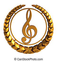 Golden Treble Clef. 3D Model. - Golden Treble Clef On White...