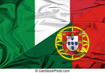 Waving flag of Portugal and Italy