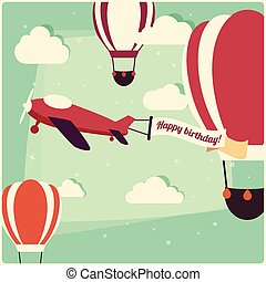 Birthday background hot air balloons and an airplane, vector...