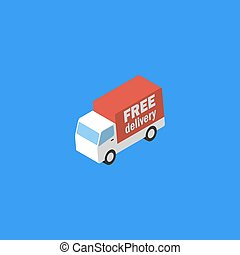Delivery truck. Isometric icon