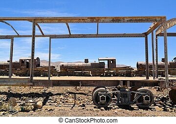 Rusty steam locomotives, train cemetery in Bolivia