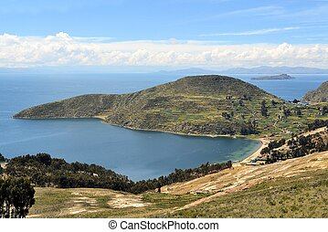View of Lake Titicaca between Bolivia and Peru - View of the...