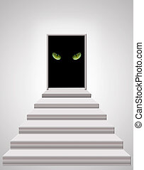 stairs leading to the door with cat's eyes in darkness -...