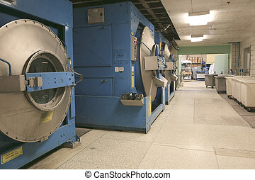 a row of textile dyeing machines.