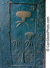 Brass Finish Floral Design, Brass craftsmanship on a door at...