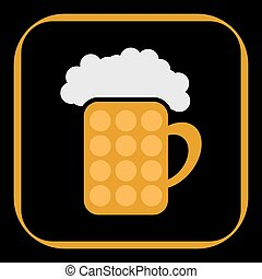 styled pint of beer with foam - icon in the border