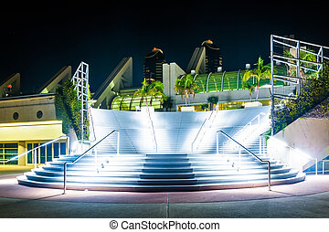 Large staircase at the Convention Center at night, in San Diego,