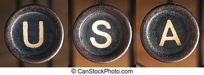 Usa - A word consists of buttons from an old vintage...
