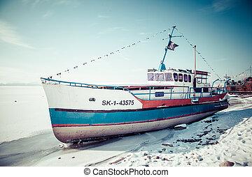 Shipwreck on lake Liptovska Mara, Slovakia