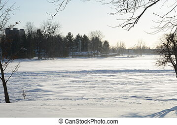 Frozen lake in winter