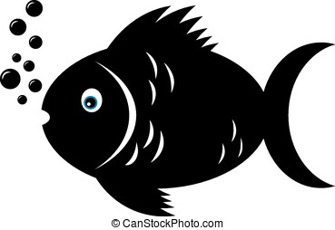 Black fish - Fish in black and white color and blue eye