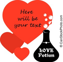 Valentines greeting card with flask of love potion