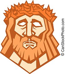 Jesus Christ Face Crown Thorns Retro - Illustration of Jesus...