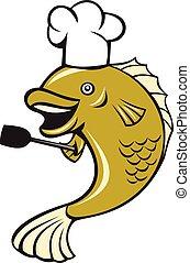bajo,  largemouth, pez,  Chef, espátula, cocinero, caricatura