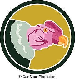 California Condor Head Circle Retro - Illustration of a...