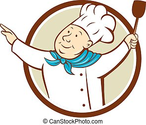 Chef Cook Arms Out Spatula Circle Cartoon - Illustration of...