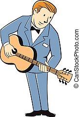 Musician Guitarist Standing Guitar Cartoon