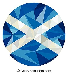 Scotland Flag Icon Circle Low Polygon - Low polygon style...