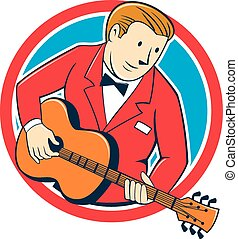 Musician Guitarist Playing Guitar Circle Cartoon
