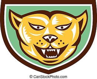 Puma Mountain Lion Head Shield Woodcut - Illustration of a...