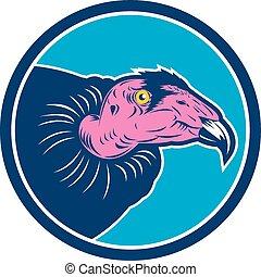 Vulture Head Circle Retro