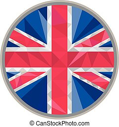 Union Jack UK GB Flag Circle Low Polygon - Low polygon style...
