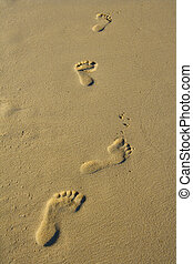 Foot prints - Foot steps in the sand.
