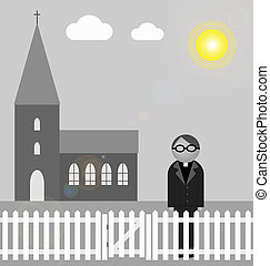 Church and Vicar - Monochrome church with vicar standing...