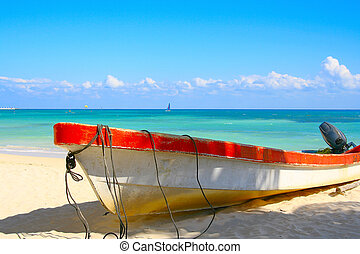 """Escape - Tropical beach with a boat named """"escape""""."""