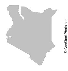 grey map of Kenya