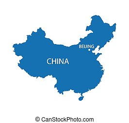blue map of China