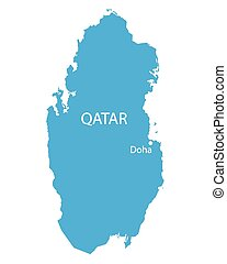 blue map of Qatar