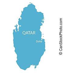 blue map of Qatar