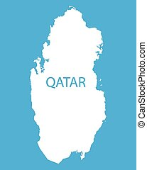 white map of Qatar on blue background