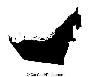 black map of United Arab Emirates