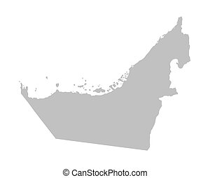 map of United Arab Emirates - grey map of United Arab...