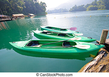 Kayak on Cheo Lan lake. Khao Sok National Park. Thailand.