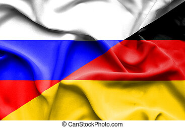 Waving flag of Germany and Russia