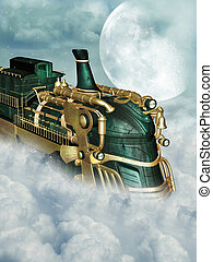 steampunk style - Fantasy scene with steampunk style in the...