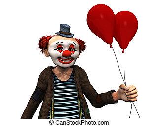sorrindo, balões, Palhaço, vermelho