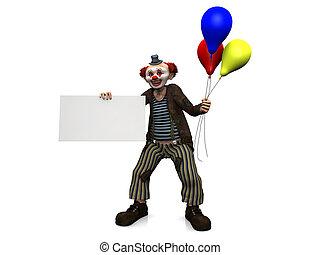 sinal, Palhaço, segurando, em branco, sorrindo, balões