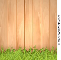 Freshness spring green grass and wooden wall - Illustration...