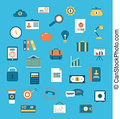 Set flat icons of web design objects, business, office and marketing items